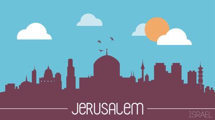 Jerusalem Israel skyline silhouette flat design vector