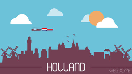 Holland skyline silhouette flat design vector illustration