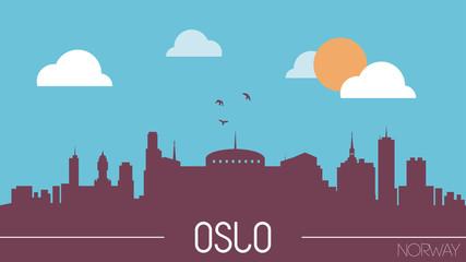 Oslo Noway skyline silhouette flat design vector