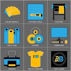 Set of Flat Line Design Icons for Sign-making Visualisation