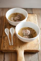 Vietnamese meatballs in broth