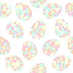 Easter seamless pattern. Easter eggs with Low Polygonal Backgrou