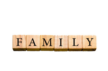 Word FAMILY isolated on white background with copy space