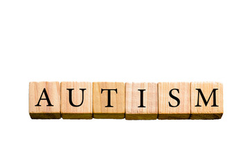 Word AUTISM isolated on white background with copy space