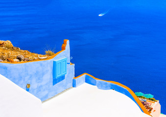 View to the sea from Oia in Santorini island in Greece