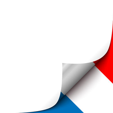 Curled up Paper Corner on French Flag Background. Vector