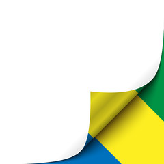Curled up Paper Corner on Gabonese Flag Background. Vector