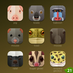 Animal faces for app icons-set 21
