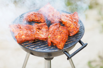 close up of meat on barbecue grill outdoors