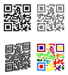 set icons abstract qr code vector illustration