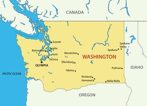 Washington (state) - vector map