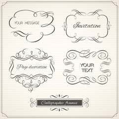 Vintage frame and page decoration set. Calligraphic elements