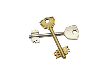 Two old keys isolated on white background