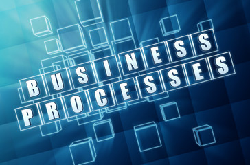 business processes in blue glass blocks