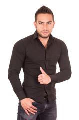 handsome brunette young man posing wearing black shirt