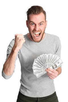 Winning man with cash