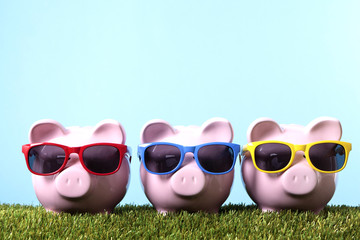 Piggy Banks with sunglasses