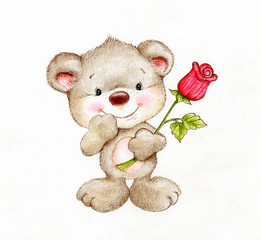 Cute Teddy bear with red rose