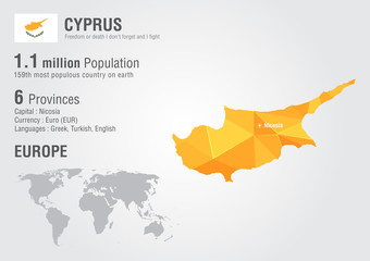 Wall Mural - Cyprus world map with a pixel diamond texture.