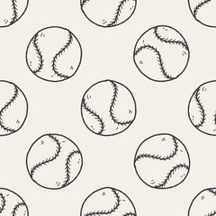 Doodle Baseball seamless pattern background