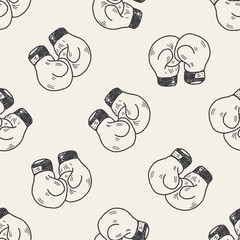 Doodle Boxing seamless pattern background