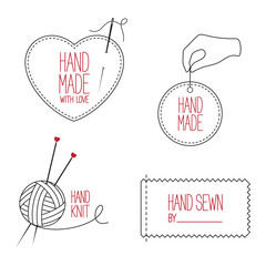 Set of emblems and labels for handmade, tailor and knitting