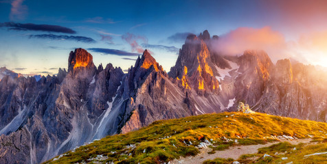 sunset in mountains landscape