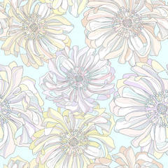 Seamless vector pattern of botanical flowers.