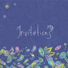 Blue Indian Invitation Template