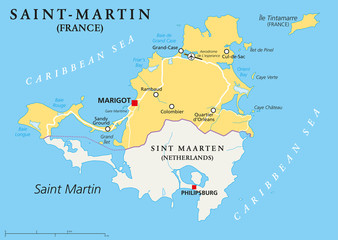 Saint-Martin Country Political Map