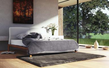 Rendering eines modernen Schlafzimmers
