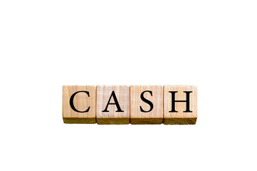 Word CASH isolated on white background with copy space