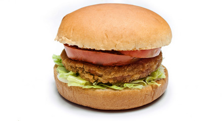 chicken burger on white background