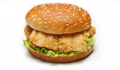 chicken burger on white background