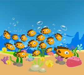cartoon tropical fishes