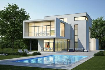 Moderne Villa 3 weiss Abend