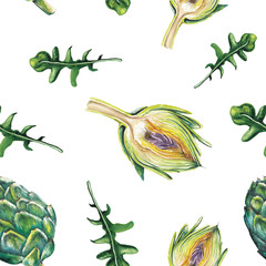 watercolor artichoke and rucola pattern