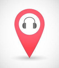 Map mark icon with a ear phones