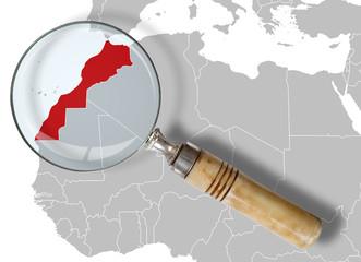 Fotobehang Marokko Cartina del Marocco sotto la lente - Morocco