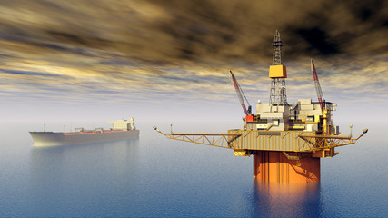 Supertanker and Oil Platform