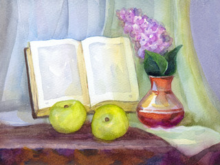 Watercolor still life. Book, lilacs in a vase and apples