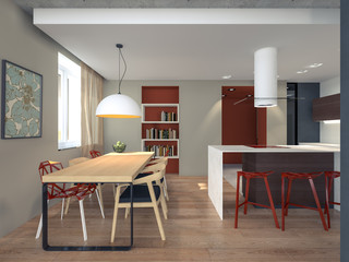 3d rendering kitchen with dining area