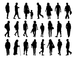 big set of people walking silhouettes set 3