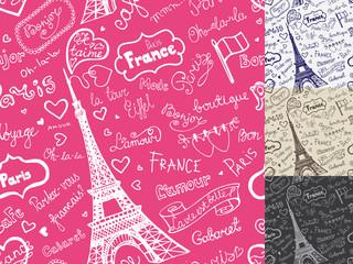 Paris symbols,lettering seamless pattern.Hand drawn  sketchy doo