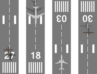 Takeoff and landing airplanes vector set