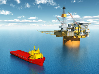 Platform Supply Vessel and Oil Platform