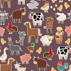 Farm animal and pets stickers pattern