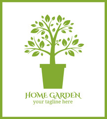 Wall Mural - Home garden label, tree in pot logo