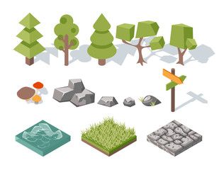 Wall Mural - Flat elements of nature. Trees, bushes, rocks, water, grass and