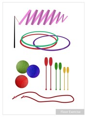 Set of Rhythmic Gymnastic Equipments on White Background